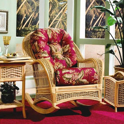 Spice Island Wicker - Easy Afternoon 3 Pc Den Set (Garden Scroll - All Weather) - Fabric: Garden Scroll (All Weather)Complete relaxation is at your fingertips!  Our Spice Island Easy Afternoon Den Set includes the three pieces you need for total comfort.  Rocking chair, accent table and magazine rack are beautifully crafted in wicker for timeless appeal and great style.  It�۪s a delightful and relaxing combo.  Each piece is beautifully crafted in wicker with a classic braid. * Includes Rocking Chair, Cushions, Magazine Rack, and Serving Table w removable tray. Solid Wicker Construction. Natural Finish. For indoor, or covered patio use only. Rocker: 32.5 in. W x 41.5 in. D x 37.5 in. H. Magazine Rack: 19 in. W x 12 in. D x 18 in. H. Serving Table: 26 in. W x 20.5 in. D x 22.5 in. H