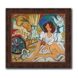 """Chasing Rainbows 14x14 Print - """"Chasing Rainbows"""" is a whimsicle canvas giclee by Christina Hankins. We present this to you in a dark brazilian panel frame with raised back and lip. This makes for an overall framed size of 14x14."""