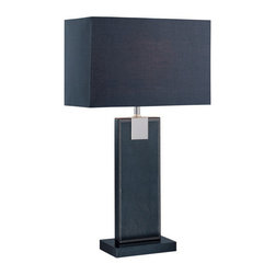 Lite Source - Table Lamp, Black Leather/Black Fabric Shade, E27 CFL 13W - Table Lamp, Black Leather/Black Fabric Shade, E27 CFL 13W