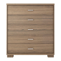 Manhattan Comfort - Astor Dresser, Chocolate - A great piece of furniture that will enhance any space, the Astor Dresser is compact and smooth, with 5 roomy drawers. Choose from 5 beautiful colors to match your bedroom decor. The unique paint is protected by the Microban Antibacterial Protection.