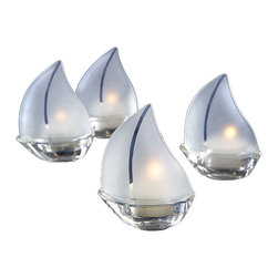 """Handcrafted Model Ships - Frosted Glass Sailboat Tealight Candle Holders 3.5"""" - Set of 4 - Is there a more romantic image than softly lit sailboats at night, nestled in a harbor, with each one adding to a captivating ambiance? These charming tealight holders make an impeccable presentation at every place setting as the tealights illuminate their frosted-glass sails. Give this as a nautical gift to someone who loves sailboat decor. They go beautifully with in spring, summer, or nautical-themed weddings!"""