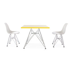 "Vertigo Interiors - Eames Style Kids Square Yellow Table & 2 Kids DSR Chairs, Green Chairs - Vertigo Interiors is proud to present to you the highest quality reproduction of the Kid's Eames Square Table and DSR Chairs on the market today. Both stylish and decorative, this set can be used in a playroom, at school, in a nursery, or as a dining set. The tabletop is constructed of high quality ABS plastic with a chrome ""Eiffel"" base. Designed by Charles and Ray Eames, our highest quality reproductions of these classic models are a fitting tribute the originals."