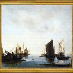 """Jan Van de Capelle-16""""x20"""" Framed Canvas - 16"""" x 20"""" Jan Van de Capelle Seascape with Sailing Boats framed premium canvas print reproduced to meet museum quality standards. Our museum quality canvas prints are produced using high-precision print technology for a more accurate reproduction printed on high quality canvas with fade-resistant, archival inks. Our progressive business model allows us to offer works of art to you at the best wholesale pricing, significantly less than art gallery prices, affordable to all. This artwork is hand stretched onto wooden stretcher bars, then mounted into our 3"""" wide gold finish frame with black panel by one of our expert framers. Our framed canvas print comes with hardware, ready to hang on your wall.  We present a comprehensive collection of exceptional canvas art reproductions by Jan Van de Capelle."""