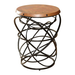 Global Views - Rustic Copper Top Ring Table - Black powder coat base with antique copper sheet top