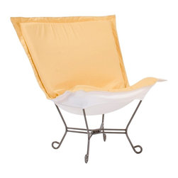 "Howard Elliott - Contemporary Howard Elliott Titanium Sunflower Outdoor Puff Chair - Howard Elliott Scroll outdoor accent chair. Weather-resistant Starboard Sunflower yellow 100-percent solution-dyed acrylic upholstery. Titanium finish steel base with scroll feet. White acrylic cushion bottom. Specially-designed soft foam insert withstands the elements. Removable washable cover for easy cleaning or updating. Use indoors or outdoors. Pair with the titanium frame Scroll Puff Ottoman (sold separately) for a great look. Simple assembly required. Some minor assembly required. 40"" wide. 37"" deep. 40"" high.   Howard Elliott Scroll outdoor accent chair.  Weather-resistant Starboard Sunflower yellow 100-percent solution-dyed acrylic upholstery.  Titanium finish steel base with scroll feet.  White acrylic cushion bottom.  Specially-designed soft foam insert withstands the elements.  Removable washable cover for easy cleaning or updating.  Use indoors or outdoors.  Pair with the titanium frame Scroll Puff Ottoman (sold separately) for a great look.  Simple assembly required.  Some minor assembly required.  40"" wide.  37"" deep.  40"" high."