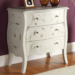"Acme Furniture - Issa Bombay Chest in White - Issa Bombay Chest in White; Finish: White; Painted Drawer; Materials: MDF, Solid Wood Leg; Weight: 75 lbs; Dimensions: 28"" x 16"" x 30""H"