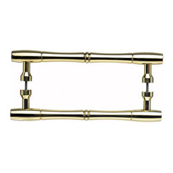 "Top Knobs - Nouveau Bamboo Back to Back Door Pull - Polished Brass - Length - 9 3/16"", Width - 7/8"", Projection - 2 1/8"", Center to Center - 8"", Base Diameter - 13/16"""