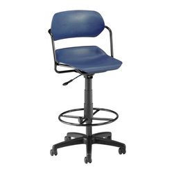 """OFM - OFM Martisa Armless Swivel with Drafting Kit with Black Frame in Navy - OFM - Drafting Chairs - 200DKBLKNAVY - Contemporary style and comfort come together with OFM's 200-DK Martisa Series Task Stool. Choose from a variety of seat and frame color combinations for this contemporary design. Users get easy positioning with the gas lift seat height adjustment and the contoured polypropylene seat and back. The seat swivels a full 360 degrees. The 16-gauge tubular steel frame and 25"""" black 5-star wheeled base add stability. Foot ring gives users a leg up in comfort. Weight capacity up to 250 lbs."""