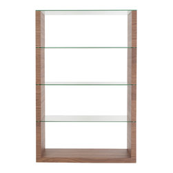 Euro Style - Euro Style Lennox Shelving Unit Glass 09648WAL-A/09648WAL-B - Hats off to this designer. It's not easy to bring truly fresh ideas to shelving. The side panels are your choice of walnut, wenge or white. The shelving, including the top, is clear tempered glass. It's strong and light at the same time and a serious wow.