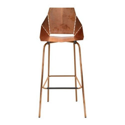Blu Dot - Copper Real Good Barstool by Blu Dot - Copper makes Real Good even better. The Blu Dot Copper Real Good Barstool has the same signature industrial form as the original, but features specialty copper plating over steel that will patina over time for a unique look. The stool ships flat and then folds out into a comfortable seat along laser-cut lines. In 1997, Blu Dot was established in Minneapolis by three college friends with a shared passion for art, architecture and design. Then and today, their goal is to bring good design to as many people as possible, collaborating to create modern home furnishings and accessories that are useful, affordable and exceedingly desirable.