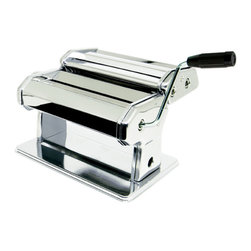 PRIME PACIFIC - 180mm Adjustable Small Pasta Machine - This pasta rolling machine features an adjustable steel roller for kneading, stainless steel cutting blade for spaghetti and linguini, a removable handle for storage as well as a removable sturdy bench clamp to keep it help in place. If you want to make truly fresh pasta, this is the only way to go!
