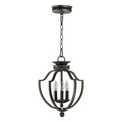 Joshua Marshal - Three Light Old World Open Frame Foyer Hall Fixture - Three Light Old World Open Frame Foyer Hall Fixture