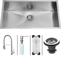 Vigo - VIGO Undermount Stainless Steel kitchen sink Faucet, Dispenser, Colander, VG1500 - VIGO-Stainless Steel-Kitchen Sinks Kitchen Sets are fully undercoated and padded with multi layer sound eliminating technology which also prevents condensation.  All Vigo kitchen sinks guaranteed to never rust.  Faucet features spray face that resists mineral buildup and is easy-to-clean. Vigo finishes resist corrosion and tarnishing, exceeding industry durability standards .  Drip-free ceramic disc cartridge.