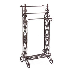 IMAX CORPORATION - Narrow Quilt Rack - Traditional, narrow wrought iron quilt or towel rack in a dark finish with open-metalwork design features 3 horizontal bars. Find home furnishings, decor, and accessories from Posh Urban Furnishings. Beautiful, stylish furniture and decor that will brighten your home instantly. Shop modern, traditional, vintage, and world designs.
