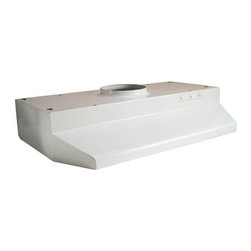 "BROAN MANUFACTURING - RANGE HOOD 42000, 30"" WHITE - Broan-NuTone -- white. 30"" Width. 7"" Round ducted range hood, 2-speed. Baked enamel finish. 75 Watt light with molded high strength polymeric lens (bulb not included). 10-1/2"" Diameter washable aluminum filter. Exhaust capacity. HVI certified at 190 CFM. 5.5 Sones. Use 95-4016 replacement filter. Min. Order: 1 EA"