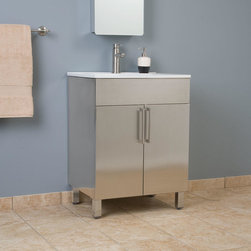 "24"" Crosstown Stainless Steel Vanity - The 24"" Crosstown Stainless Steel Vanity will make a stunning addition to your contemporary bathroom. Pair it with a faucet and stainless steel medicine cabinet to create a clean and modern look."