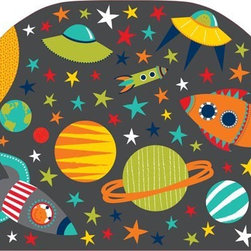 "Brewster Home Fashions - Blast Off Headboard Decal - A headboard kicks up the style of a room creating a finished look with the bed as a focal point. This peel and stick headboard decal adds a curvy and cute headboard detail with the convenience of a removable decal. Especially for a child who loves space this imaginative design brings a cute galaxy to life. Rocket ships with aliens at the helm planets and stars are all designed with a fun and friendly feel. Enjoy the look of a headboard in instants with this easy-to-apply headboard decal. Measures 26""x41"""