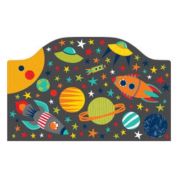 """Brewster Home Fashions - Blast Off Headboard Decal - A headboard kicks up the style of a room creating a finished look with the bed as a focal point. This peel and stick headboard decal adds a curvy and cute headboard detail with the convenience of a removable decal. Especially for a child who loves space this imaginative design brings a cute galaxy to life. Rocket ships with aliens at the helm planets and stars are all designed with a fun and friendly feel. Enjoy the look of a headboard in instants with this easy-to-apply headboard decal. Measures 26""""x41"""""""