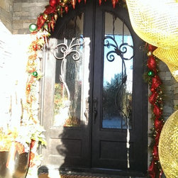 """Holiday Doors - 72 1/2"""" x 117 1/2""""   3/4 lite Hand Rubbed Bronze with Flemish glass"""