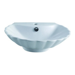 Kingston Brass - Oceana White China Vessel Bathroom Sink with Overflow Hole & Faucet Hole EV9207 - The Oceana vessel sink features an intricately designed seashell body with a small pulpit at the base used for countertop installation. The inner basin is shaped in a skewed circular model with refined indentations that signify the look of a shell.   A single-hole drilling is mounted on the sleek faucet deck with a chrome-plated overflow hole on the front end. The surface is refined with the finest vitreous china to prevent from scratches; suitable for those seeking a classic-style theme for their bathroom. Manufacturer: Kingston BrassModel: EV9207UPC: 663370097546Product Name: White China Vessel Bathroom Sink with Overflow Hole & Faucet HoleCollection / Series: OceanaFinish: WhiteTheme: ClassicMaterial: CeramicType: SinkFeatures: Finest vitreous china vessel with high chemical and thermal shock resistance