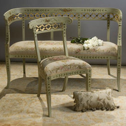 French Edith Upholstered Bench - French Edith Bench is a stunning bench featuring a hand carved hardwood frame, hand painted floral design with antiqued gold detail and upholstered in hand loomed Aubusson.