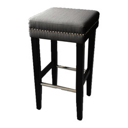 JR Home Products Ltd. - Charcoal Grey 30in Bar Stool - 2 Pack - Studded sophistication. This stunning pair of counter height stools are perfect for counter height seating in any kitchen setting. The kiln dried solid wood frame provides a stable and durable structure. The legs are double coated to hold up better to daily wear and tear and feature polished chrome footrests, while high grade foam and fiber fill offer unsurpassed comfort. The faux linen fabric meets Oeko-Tex Standard 100; ensuring the fabric is free from allergenic dyestuffs, pesticides, heavy metals, formaldehyde, and offers a skin friendly PH. These fashion forward stools are finished with studded nail accents surrounding the seat for added style.