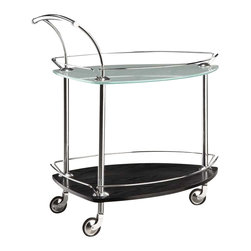 Creative Furniture - Element Meal Cart with Espresso Lower Shelf - This attractive Element Meal Cart with Wenge Lower Shelf will be the perfect choice to enhance any designed living room or dining room. Rubber casters on the wheels help to prevent your beautiful floors from being scratched when the Element is rolled around your home. This meal cart is truly the friendliest and most elegant piece of furniture you can have in your home. The Element stylishly displays its frosted glass which perfectly compliments its bottom Espresso wood shelf. This beautiful and elegant meal cart will be the hit of the party both because of its beauty and because of its very useful abilities.