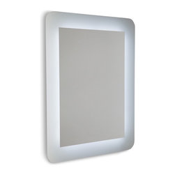 WS Bath Collections - Speci 5688 Wall Mounted Bathroom Mirror with White Frame and LED Light - Speci by WS Bath Collections, Wall Bathroom Mirror with White Frame and LED Backlighting