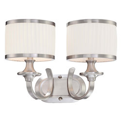 Nuvo Lighting - Nuvo Lighting 60-4732 Candice 2-Light Vanity Fixture with Pleated White Shades - Nuvo Lighting 60-4732 Candice 2-Light Vanity Fixture with Pleated White Shades