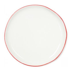 Red Rimmed Plate - The subtle red rimming gives these classic white dishes an Americana feel.