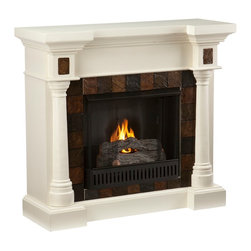 Holly & Martin - Holly & Martin Weatherford Convertible Gel Fireplace, Ivory - Beautifully rustic, this antique ivory fireplace exudes character and style. Rounded columns on either side of the firebox are topped off with square tiles, adding cohesion to the design. The faux slate front has a stunning pattern of tiles that arch across the front creating a true masterpiece. This versatile fireplace is complete with a collapsible panel, making it easy to place against a flat wall or in a corner. Requiring no electrician or contractor for installation allows instant remodeling without the usual mess or expense. In addition to your living room or bedroom, try moving this fireplace to your dining room for romantic dinners or complement your media room with a ventless fireplace below your flat screen television. Use this great functional fireplace to make your home a more welcoming environment.