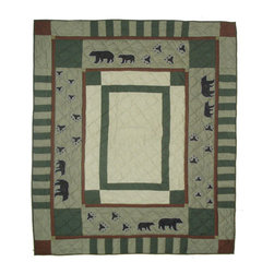 Patch Quilts - Bear Trail Quilt  Luxury King 120 x 106 Inch - Intricately appliqued and beautifully hand quilted  - Bedding ensemble from Patch Magic  the name for the finest quality quilts and accessories  - Machine washable  - Line or Flat dry only Patch Quilts - QLKBETR
