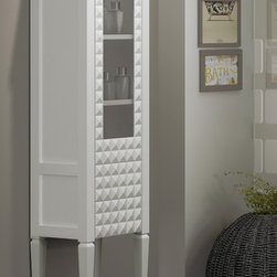 Macral Diamond 16 and 1/2 inches. Floor linen cabinet. White - Standing bathroom linen cabinet. Diamond 16 and 1/2 inches. White gloss lacquered.