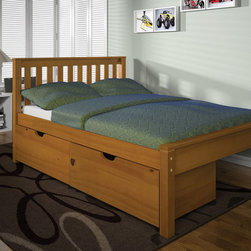 Ares Honey Oak Mission Bed with Storage - The Ares bed is available in twin or full size. The bed features a frame made of solid wood and wood veneer in a mission style with Honey Oak finish, a slatted headboard and 2 underbed drawers.