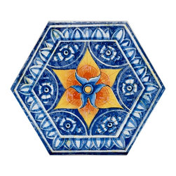 """Basilica Star - Basilica Star 7""""x8"""" is a porcelain tile with a geometric shape of a hexagon. This tile has a unique design infused with vibrant colors. The combination of blue, white and orange makes this a tile that will be sure to stand out. The blue tile has a contrasting blue and white border leading the eye to the center  of the tile where a sunburst of orange grabs they eye. Within the sunburst is a blue flower with a crowning of a lighter shade of orange in the center of the blue flower. This tile will give your floors a villa-feel and with the unique design, it will bring out the creativity you are searching for in any room."""
