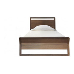 """Blu Dot - Woodrow Panel Bed - Graceful lines meet gorgeous wood. Features: -Combination of solid walnut and walnut veneer make up the entire bed frame.-Wood slats.-Color: Walnut.-Distressed: No.Dimensions: -Twin: 35.5""""H x 44""""W x 84""""D.-Queen: 35.5""""H x 65""""W x 89""""D.-King: 35.5""""H x 81""""W x 89""""D.-Overall Height - Top to Bottom: 35.5""""."""