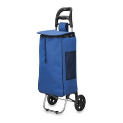 Household Essentials/real Simple - Household Essentials Medium Rolling Shopping Cart in Navy - This freestanding shopping cart makes transporting groceries and other items a breeze. It features two, easy-roll wheels, a front stabilizer bar, comfort-grip pull handle, and a durable nylon bag with quick-release closure and a handy outside pocket.