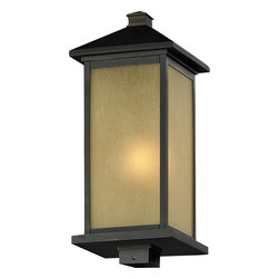 One Light Oil Rubbed Bronze Tinted Seedy Glass Post Light - This One Light Post Light is part of the Vienna Collection and has an Oil Rubbed Bronze Finish and Tinted Seedy Glass.  It is Outdoor Capable, and Wet Rated.