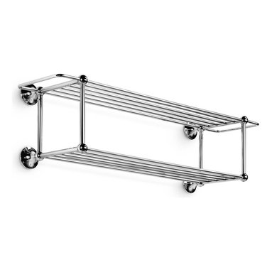 WS Bath Collections - Venessia Double Towel Rack in Polished Chrome - Made by Lineabeta of Italy. Product Material: Brass. Finish/Color: Polished Chrome. Dimensions: 9.1 in. D x 30 in. W x 8.5 in. H