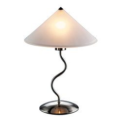 "Lumisource - Doe Li Touch Lamp, Brushed Satin Finish - 14"" Diam. x 19"" H"