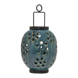Glazed Hanging Lanterns - These lanterns are unique. They're glazed pottery with wonderful cutout flower patterns. I can see the shadows created by these already. They also come in 4 beautiful colors so you can mix and match around your porch or patio.