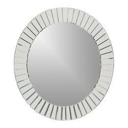 "Decor Wonderland Mirrors - Decor Wonderland The Glow Modern Frameless Wall Mirror - Let the sun shine in with this distinctive mirror ""framed"" mirror with unique beveled mirror surrounding the main mirror. This frameless mirror is a large impressive piece sure to stand out in any home."