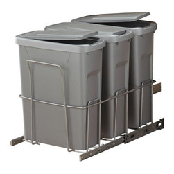 """KV Kitchen & Bath Storage - Slide-Out Waste & Recycling Bin/Lidded in Frosted Nickel - Slide-Out Waste . Recycling Center/Lidded. 3 - 20 qt. Bins. Fits 15"""" (38 - 1cm) min. wide opening. Pull out unit: 15 in. W x 22 in. D x 19.75 in. H. Lidded containers: 14.25 in. W x 7.38 in. D x 18.25 in. H each. Plastic Component Finish-Platinum. Metal Component Finish-Frosted Nickel"""