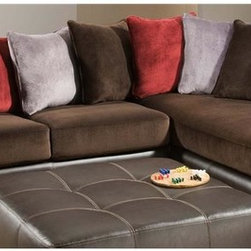 Chelsea Home - 2-Pc Nelson Sectional Set - Includes right arm facing chaise and left arm facing sofa with toss pillows. Ottoman not included. Medium seating comfort. Reversible seat cushion. Nailed, stapled and corner blocked frame. Cover: Celeron ore/groovy chocolate/groovy smoke/crimson. Fabric content: 100% poly/bonded leather. 1.8 dacron wrapped foam cores with outside padding on arms and back for added comfort. Constructed with sinuous springs to provide no sag seating. Made from solid hardwoods and plywoods. Made in USA. No assembly required. Chaise: 80 in. L x 38 in. W x 37 in. H (175 lbs.). Sofa: 72 in. L x 38 in. W x 37 in. H (125 lbs.). Overall: 110 in. - 80 in. L x 38 in. W x 37 in. H (300 lbs.)