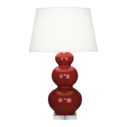 Robert Abbey - Robert Abbey Large Triple Gourd Table Lamp with Lucite Base A355X - Oxblood Glazed Ceramic