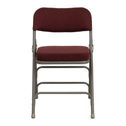 Flash Furniture - Hercules Premium Curved Triple Braced & Quad Hinged Burgundy Fabric Upholstered - The Triple Braced Hercules Series Folding Chairs are our best folding chairs ever. When in need of temporary seating this heavy duty grey metal frame chair with burgundy fabric padded seat and back is perfect. This portable folding chair can be used for Parties, Graduations, Sporting Events, School Functions and in the Classroom. This chair will be the perfect addition in the home when in need of extra seating to accommodate guests. The chair will not take up anywhere near as much space as chairs that cannot fold when it comes time to clean up. This economically priced chair will endure some heavy usage with an 18-gauge steel frame, triple braced and leg strengthening support bars.