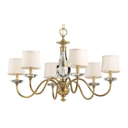"Inviting Home - Brass And Crystal Chandelier - brass chandelier with solid crystal accents; 36"" x 24""H; Six-light antiqued brass chandelier with solid crystal accents and round fabric shades; UL approved max. 60 watts each bulb;"