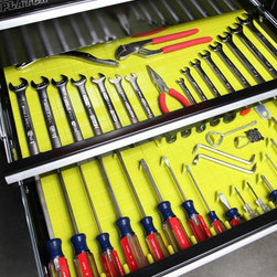 Tool Drawer Organizing System and Liner - Lime - Eliminate drawer chaos and organize your hand tools with this handy lime Tool Drawer Organizer and Liner. Our silicone liner has a high quality, non-slip surface to keep your screwdrivers and other tools in place. Fifteen accessories called Divitz are included for organizing your tools. Five long, five short, and five triangle shapes will be plenty to get you started in tidying drawers. These are also customizable and can be easily trimmed to fit many different drawer sizes. Integral to this system is the tacky silicone which helps secure the tools in place. This surface is easily renewed by simply cleaning the mat.