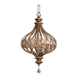 Uttermost - Sabina 3-Light Gold Pendant - This sparkling pendant illuminates with a magical touch. Its sensuous shape, burnished finish and complementary gold cut crystals bring a sense of wonder and elegance to your decor.