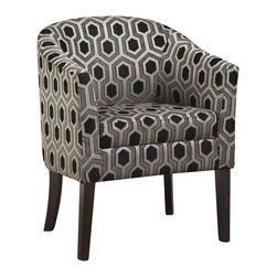 Adarn Inc - Gery Charlotte Hexagon Patterned Accent Chair with Wood Legs - Accent your home with this modern arm chair. The smooth, barrel back design with a simple seat cushion creates a cozy, comfortable seat. Upholstered in a trendy hexagon patterned chenille fabric with tapered wooden legs for modern flair. Pair with the soft grey sofa, loveseat, and arm chair in this collection for the complete set.